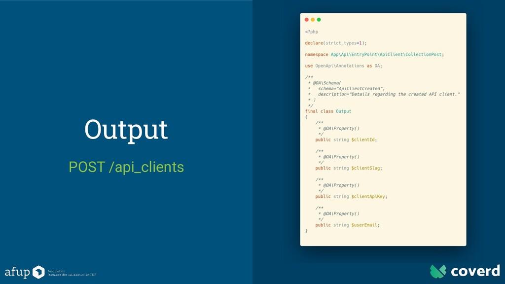Output POST /api_clients