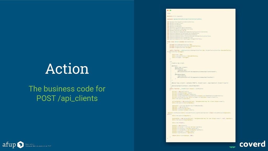 Action The business code for POST /api_clients