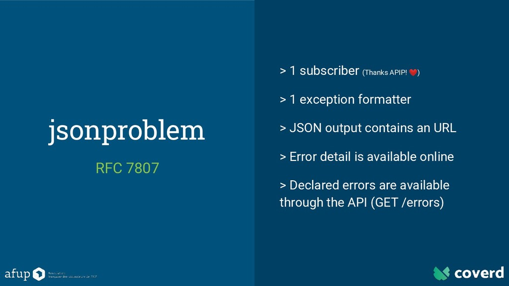 jsonproblem RFC 7807 > 1 subscriber (Thanks API...