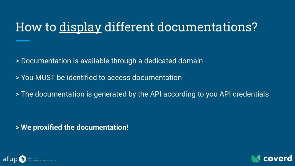 How to display different documentations? > Docu...