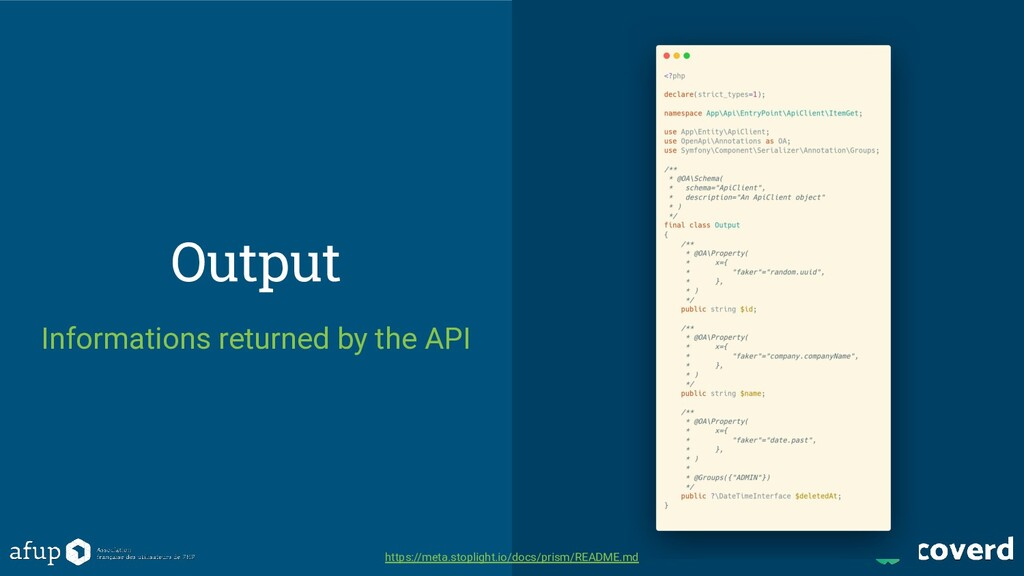 Output Informations returned by the API https:/...