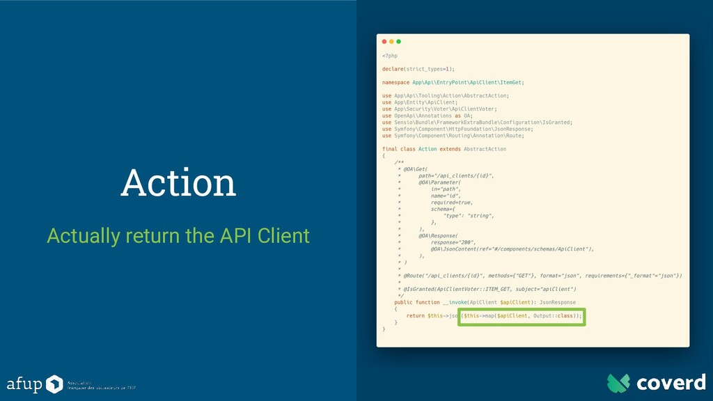 Action Actually return the API Client