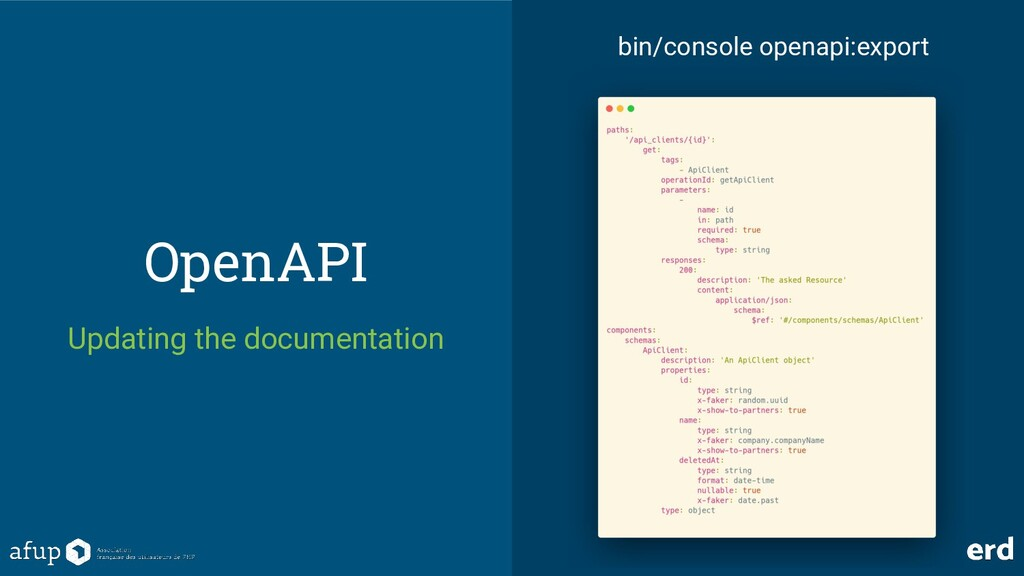 OpenAPI Updating the documentation bin/console ...