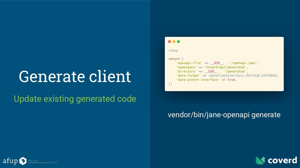 Generate client Update existing generated code ...