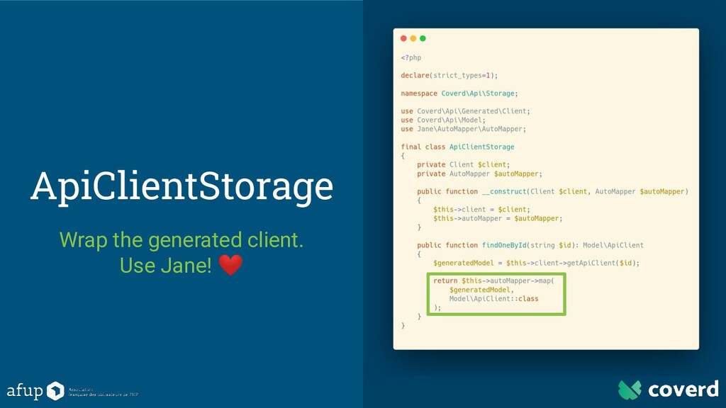 ApiClientStorage Wrap the generated client. Use...