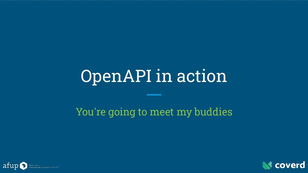 OpenAPI in action You're going to meet my buddi...