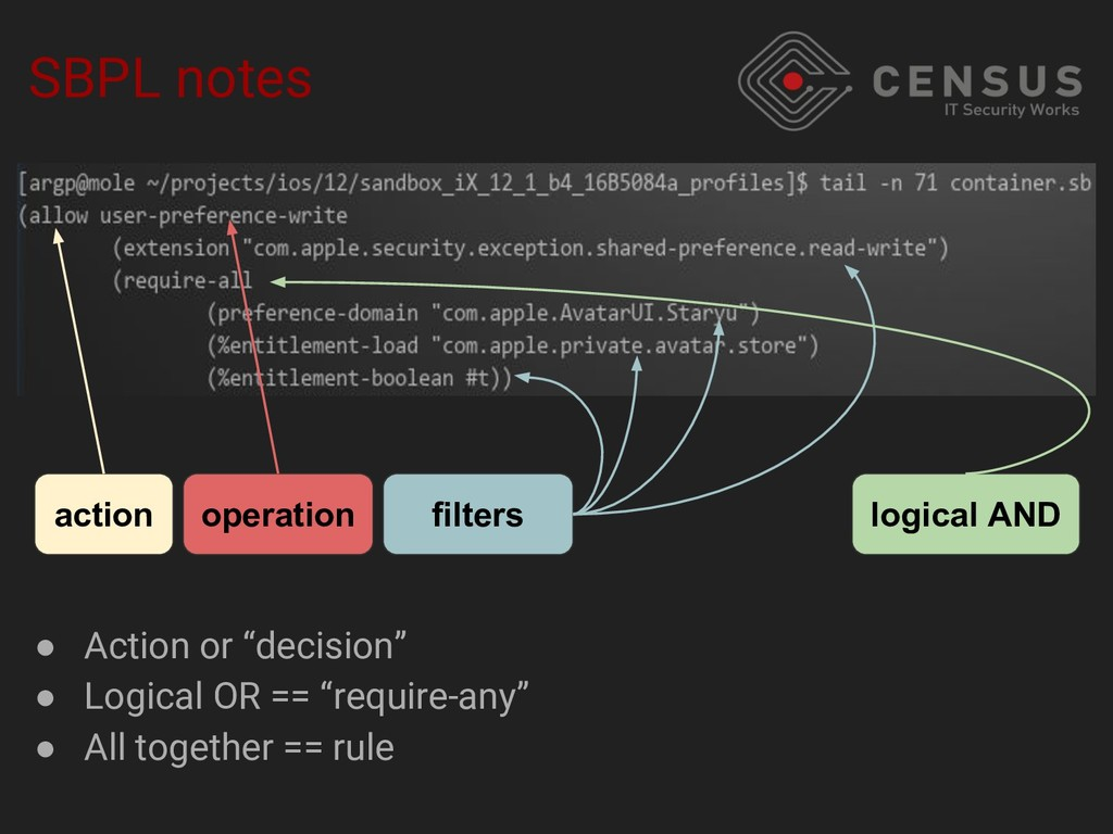 SBPL notes action operation filters logical AND...