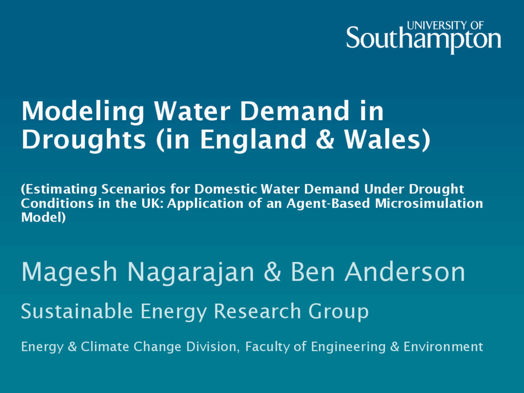 Modeling Water Demand in Droughts (in England &...