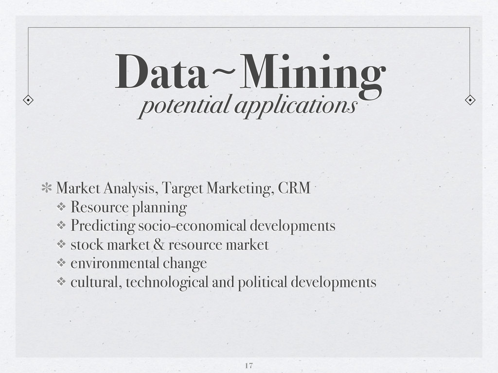 potential applications Data〜~Mining Market Anal...