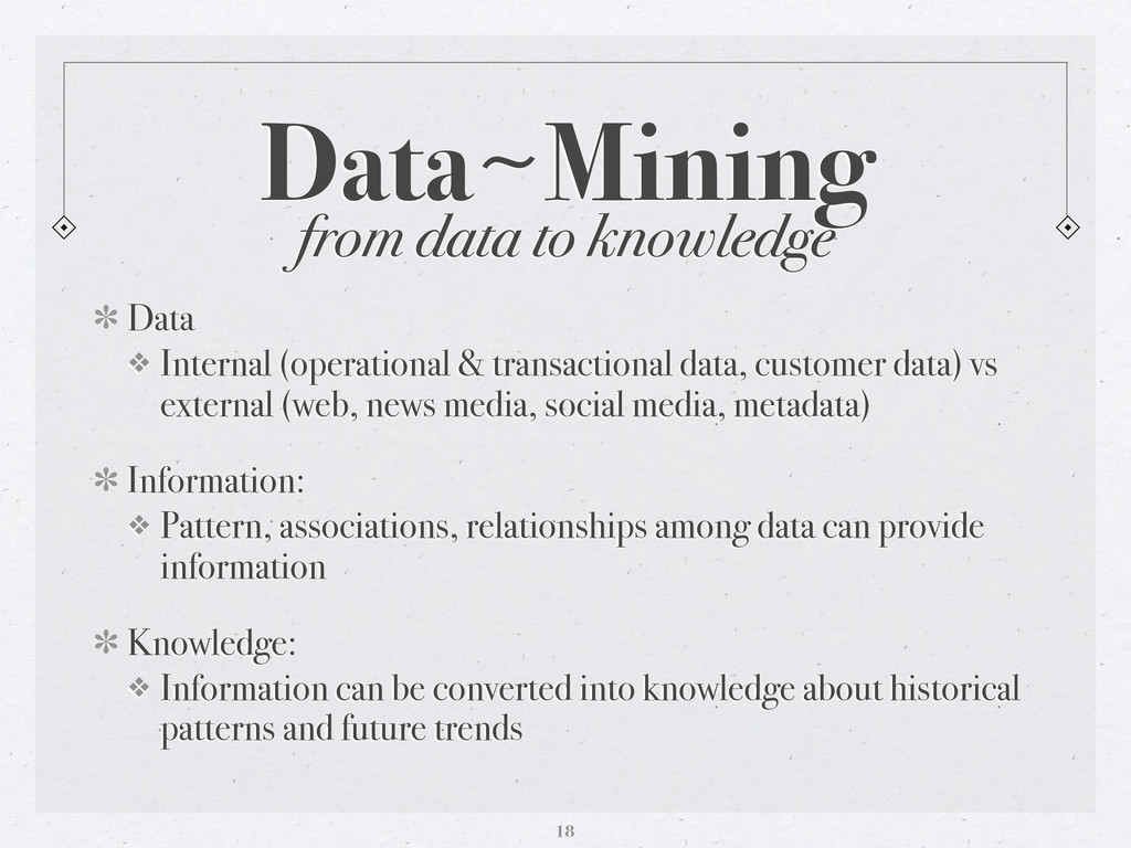 from data to knowledge Data〜~Mining Data ❖ Inte...