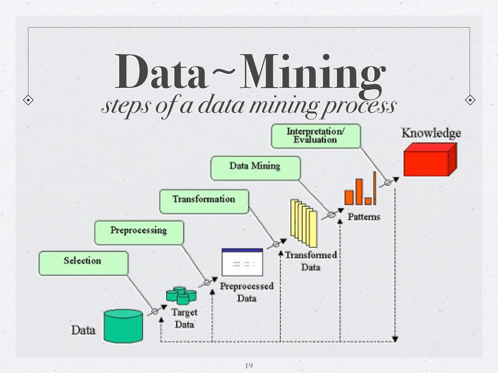 steps of a data mining process Data〜~Mining 19