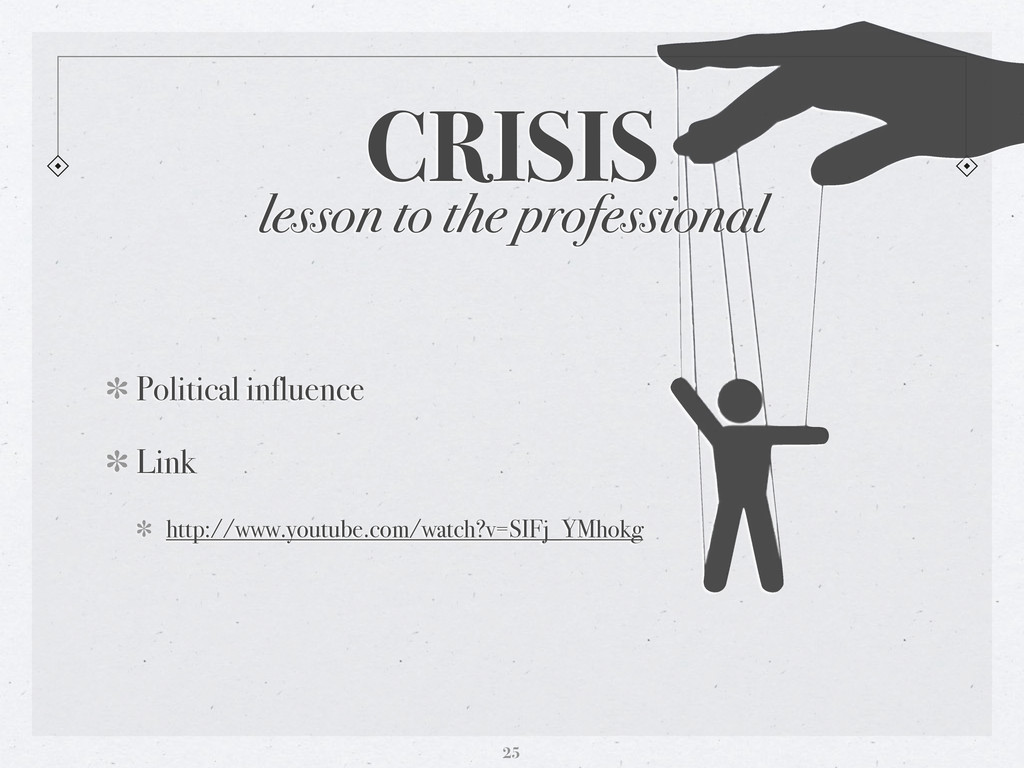 CRISIS 25 lesson to the professional Political ...