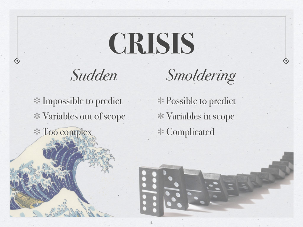 CRISIS Sudden Impossible to predict Variables o...