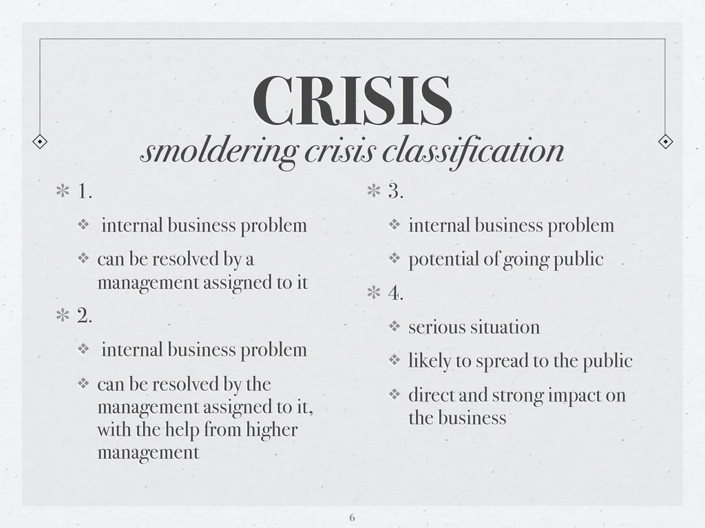 smoldering crisis classification CRISIS 1. ❖ in...
