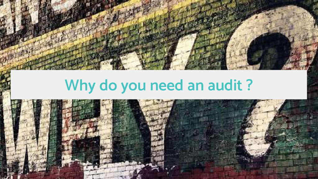 Why do you need an audit ?