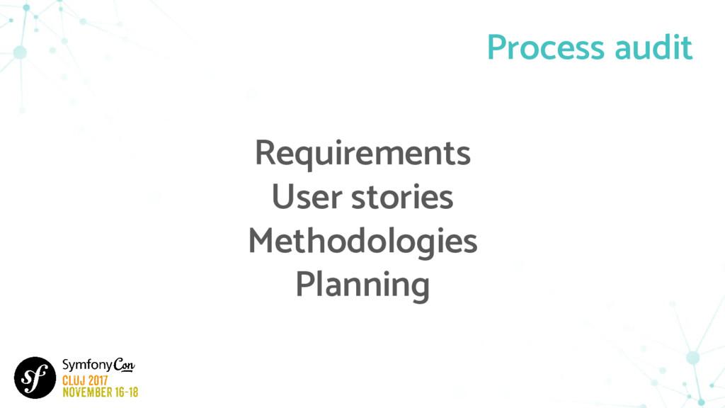 Process audit Requirements User stories Methodo...