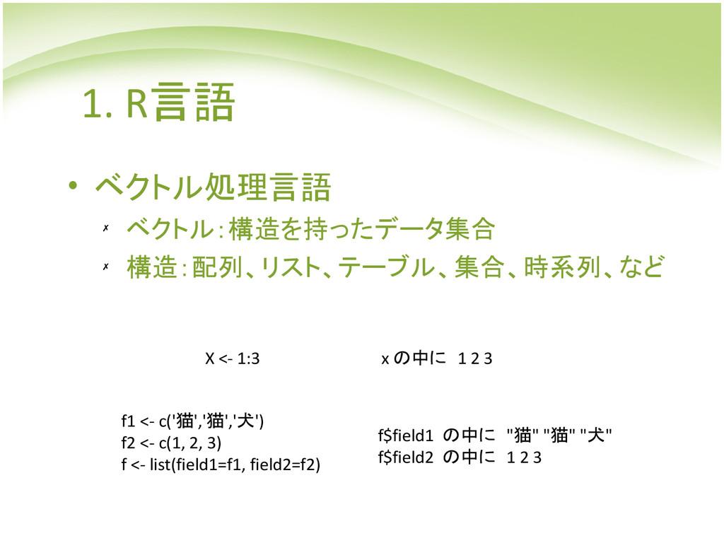 1. R言語 • ベクトル処理言語 ✗ ベクトル:構造を持ったデータ集合 ✗ 構造:配列、リス...