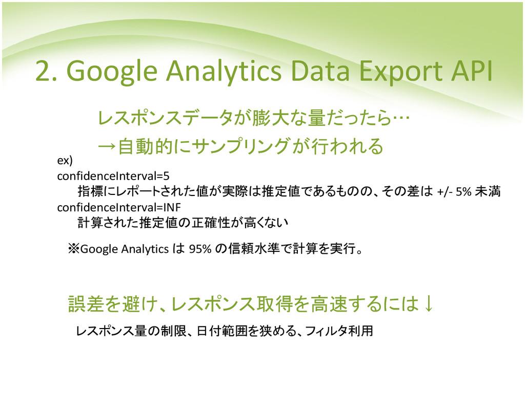 レスポンスデータが膨大な量だったら… →自動的にサンプリングが行われる ※Google Ana...