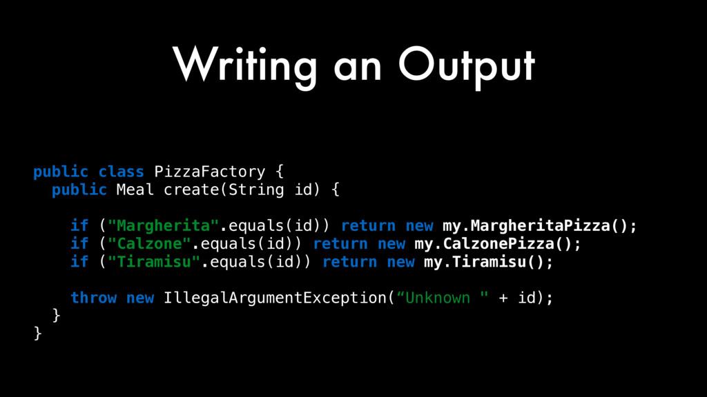 Writing an Output String src = public class Piz...
