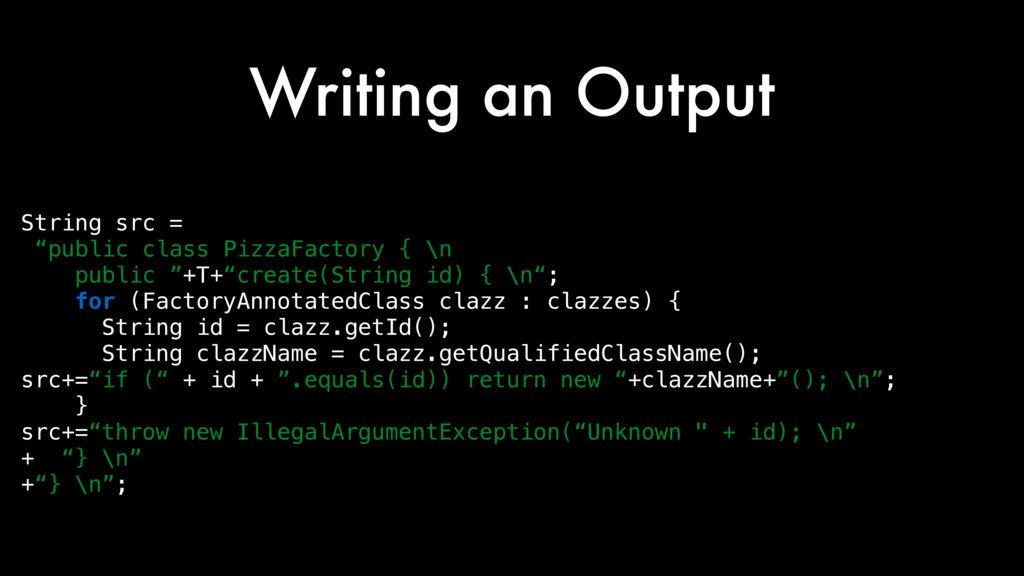 "Writing an Output String src = ""public class Pi..."