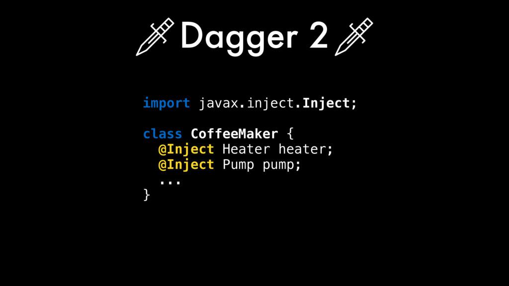 import javax.inject.Inject; class CoffeeMaker {...