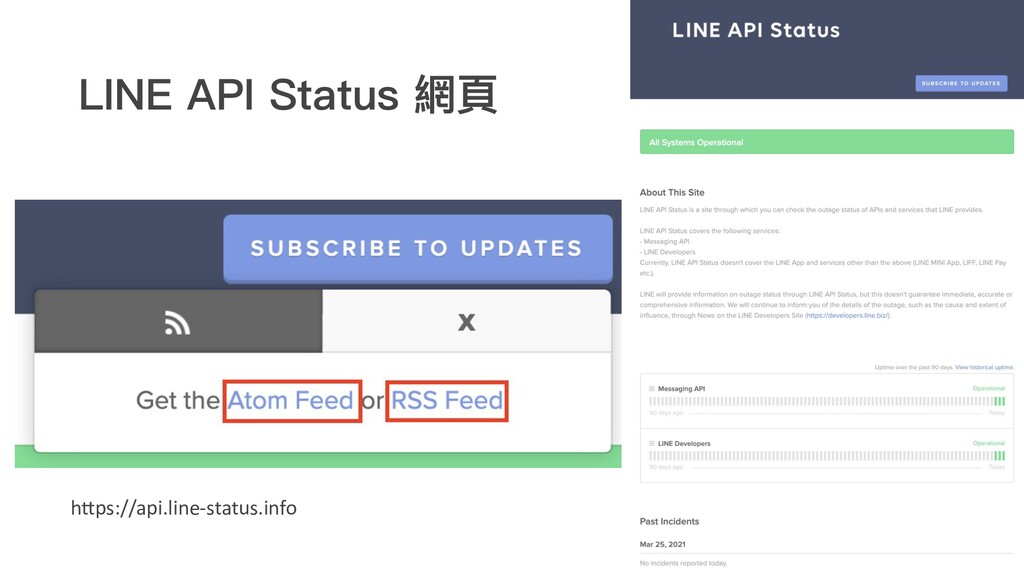 LINE API Status 網⾴ h@ps://api.line-status.info