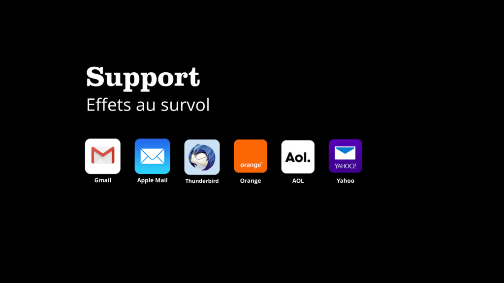 Support Effets au survol Apple Mail Gmail Thunde...