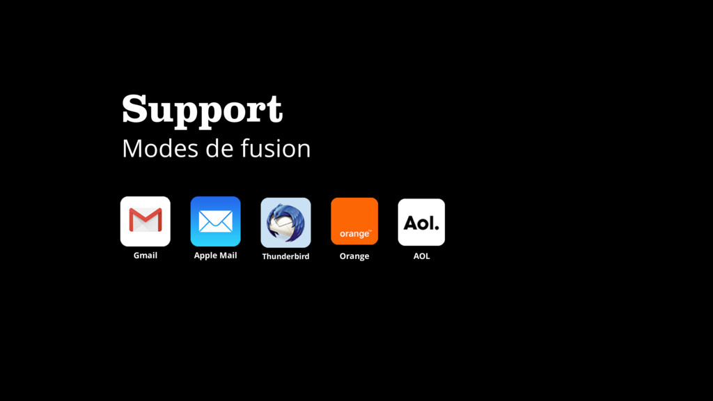 Support Modes de fusion Apple Mail Gmail Thunde...