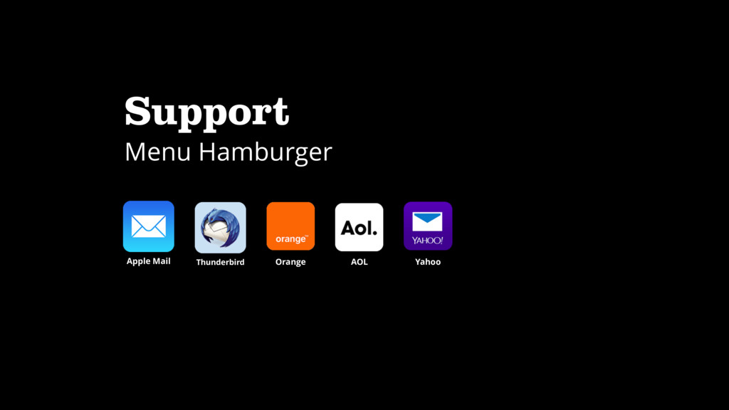 Support Menu Hamburger Apple Mail Thunderbird O...