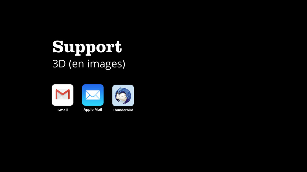 Support 3D (en images) Apple Mail Gmail Thunder...
