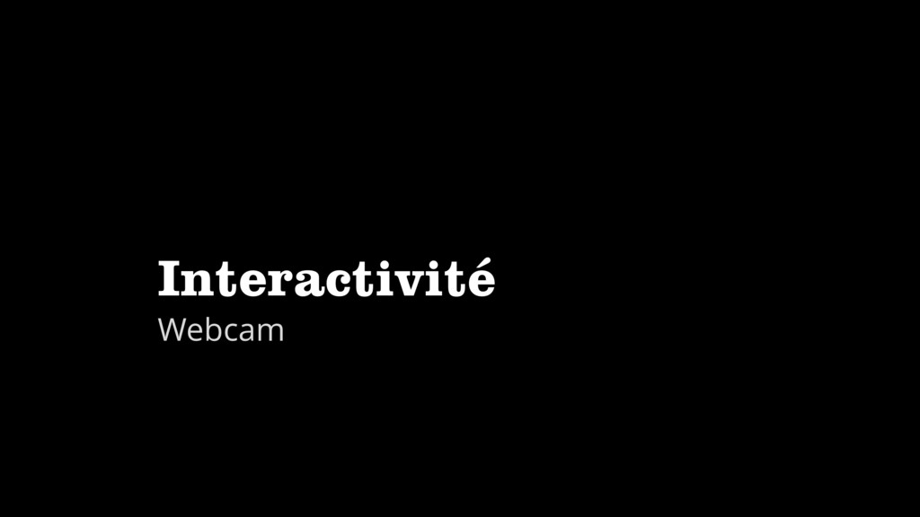Interactivité Webcam
