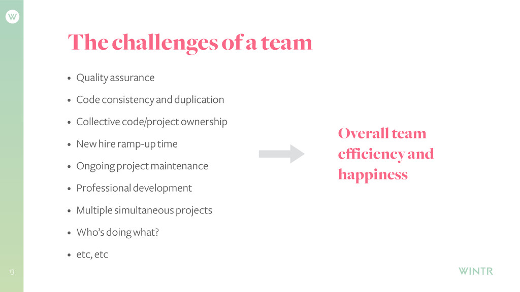 The challenges of a team 13 • Quality assurance...
