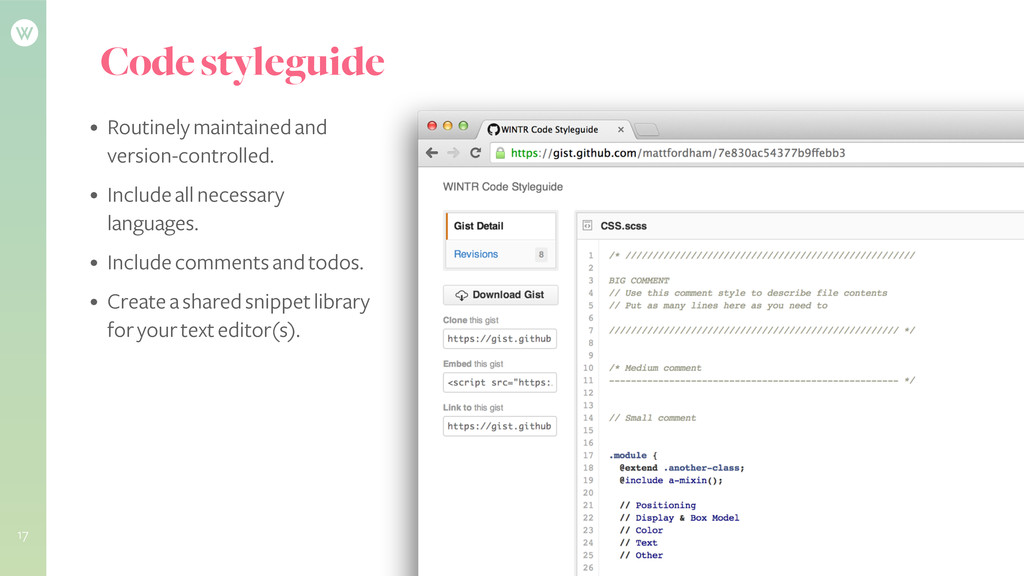 Code styleguide • Routinely maintained and vers...