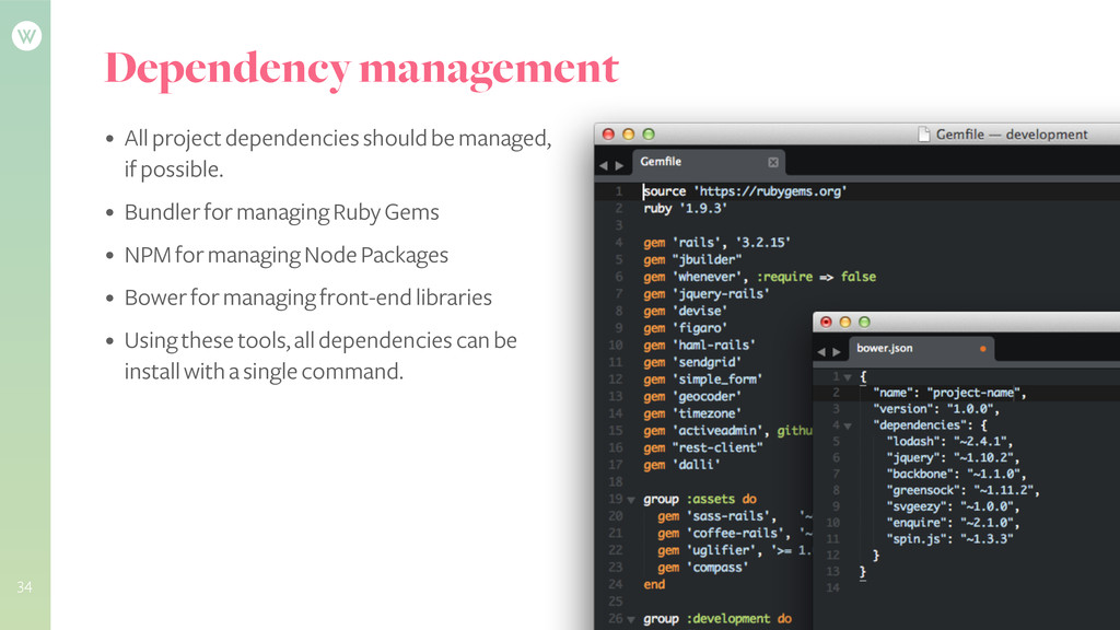 Dependency management • All project dependencie...