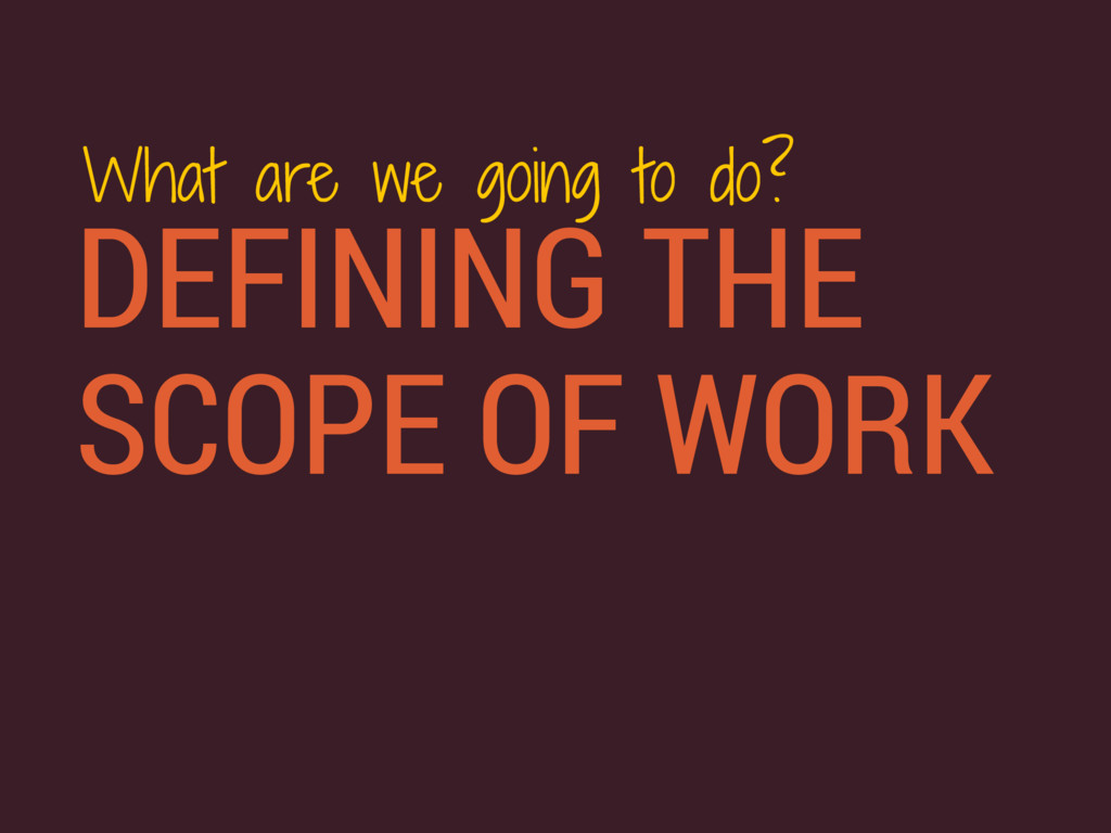 DEFINING THE SCOPE OF WORK What are we going to...