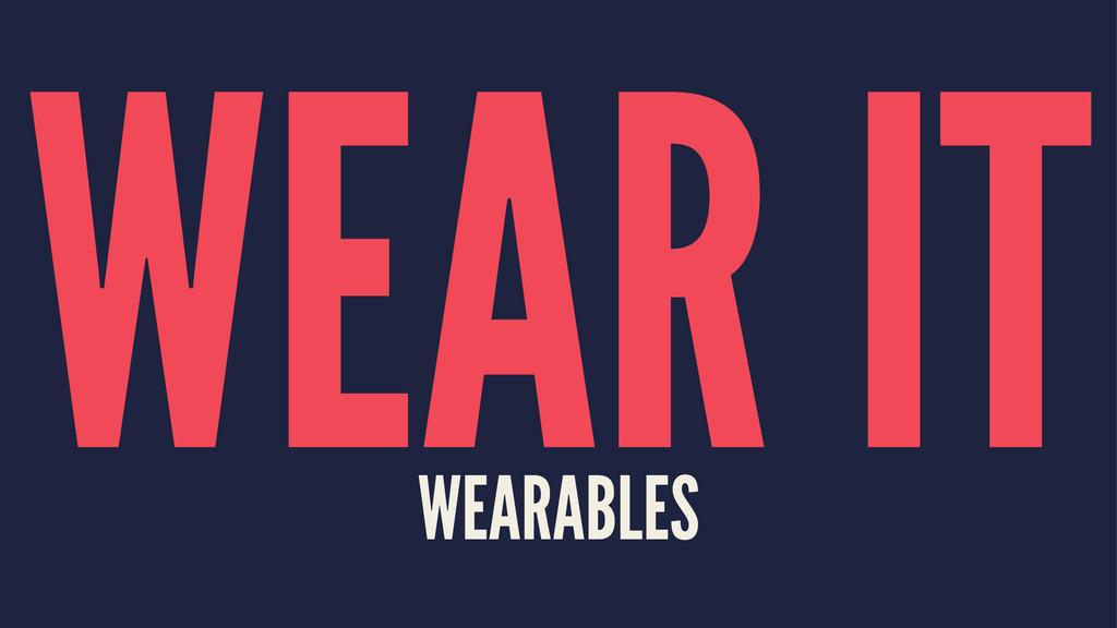 WEAR IT WEARABLES