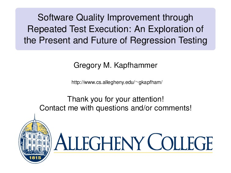 Software Quality Improvement through Repeated T...