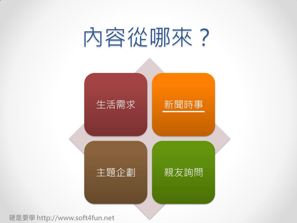 硬是要學 http://www.soft4fun.net 內容從哪來? 生活需求 新聞時事 主...
