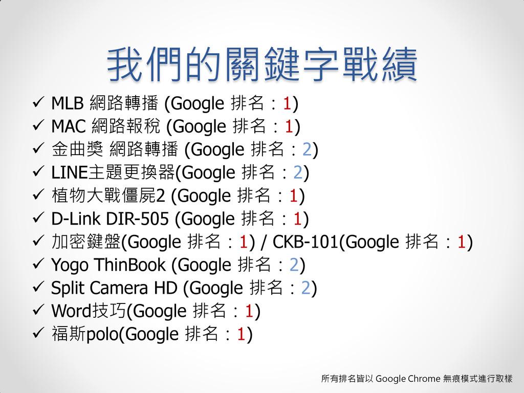 我們的關鍵字戰績  MLB 網路轉播 (Google 排名:1)  MAC 網路報稅 (G...