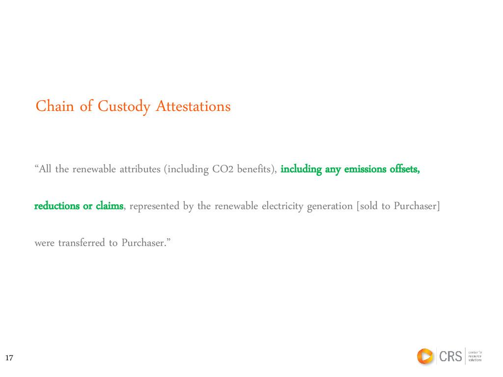 "Chain of Custody Attestations ""All the renewabl..."