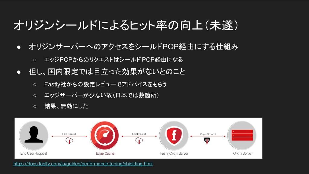 オリジンシールドによるヒット率の向上(未遂) ● オリジンサーバーへのアクセスをシールドPOP...
