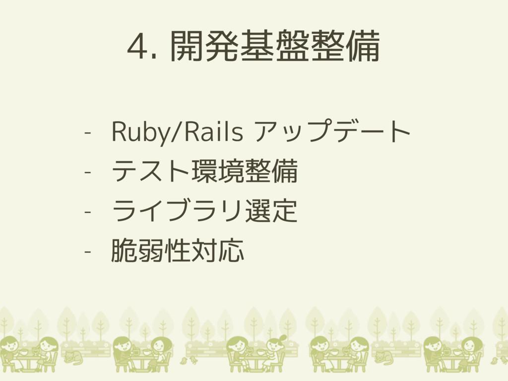 4. 開発基盤整備 - Ruby/Rails アップデート - テスト環境整備 - ライブラリ...