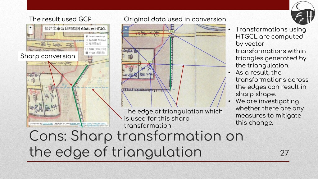 Cons: Sharp transformation on the edge of trian...