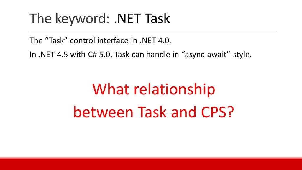 "The keyword: .NET Task The ""Task"" control inter..."