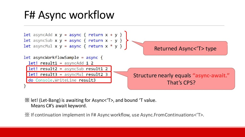 """F# Async workflow Structure nearly equals """"asyn..."""