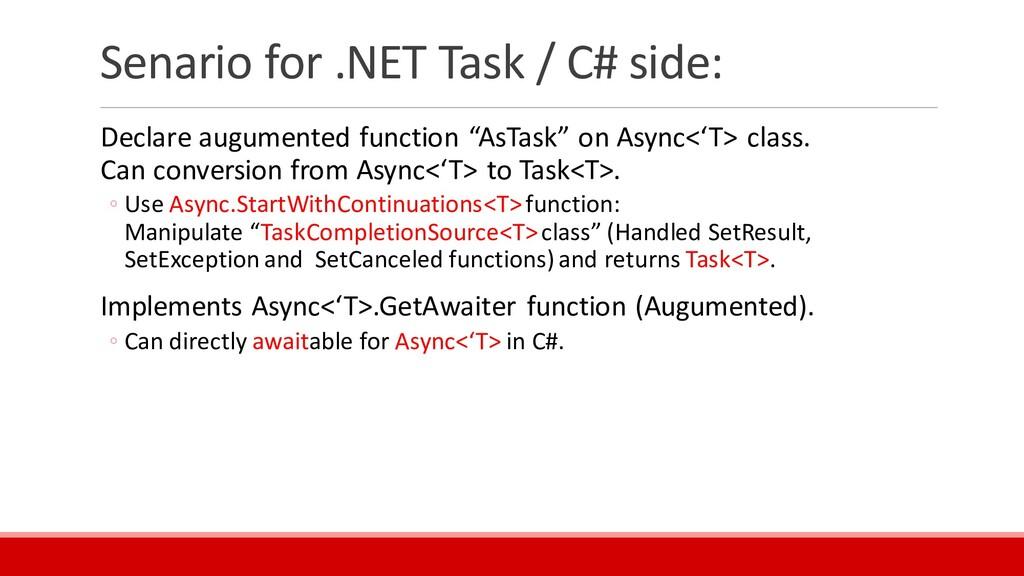 Senario for .NET Task / C# side: Declare augume...