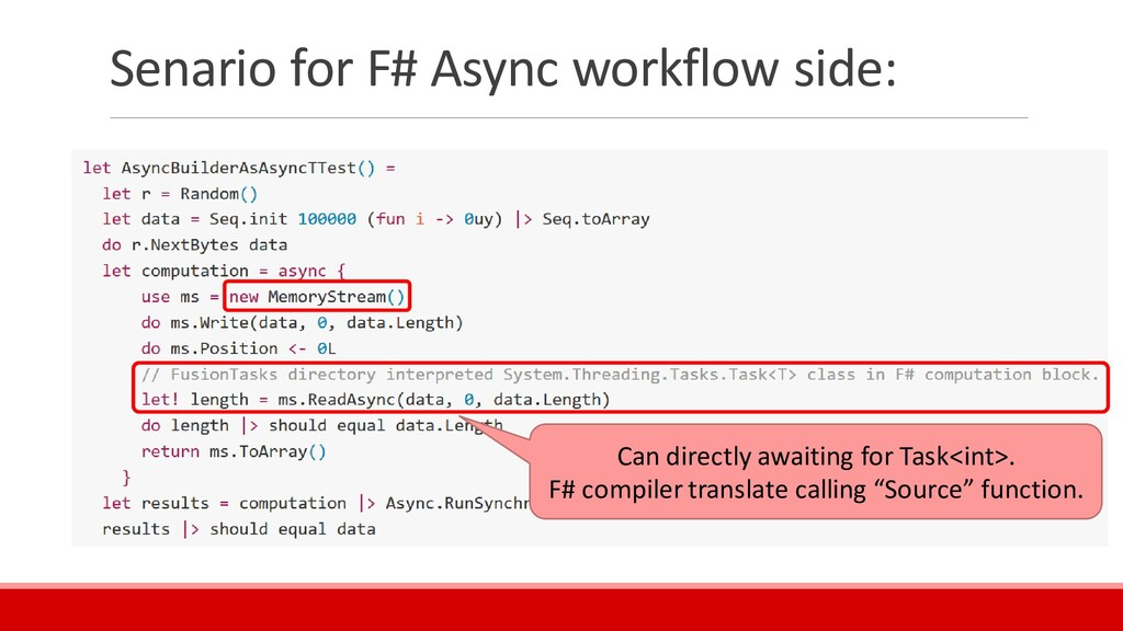 Senario for F# Async workflow side: Can directl...