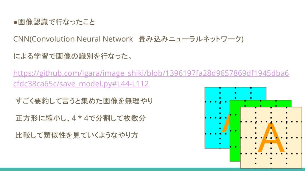 A ●画像認識で行なったこと CNN(Convolution Neural Network 畳...