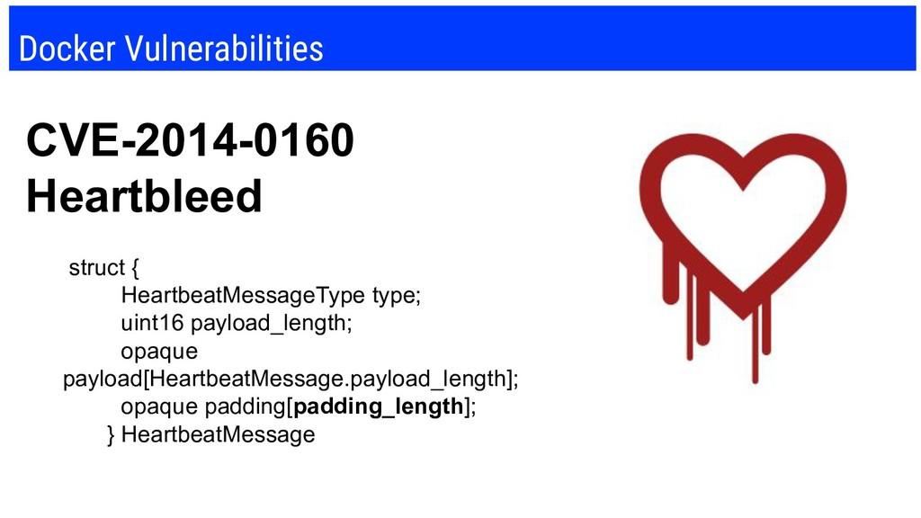 Docker Vulnerabilities CVE-2014-0160 Heartbleed...