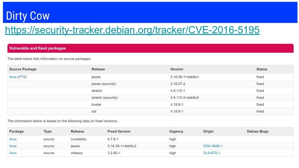 Dirty Cow https://security-tracker.debian.org/t...